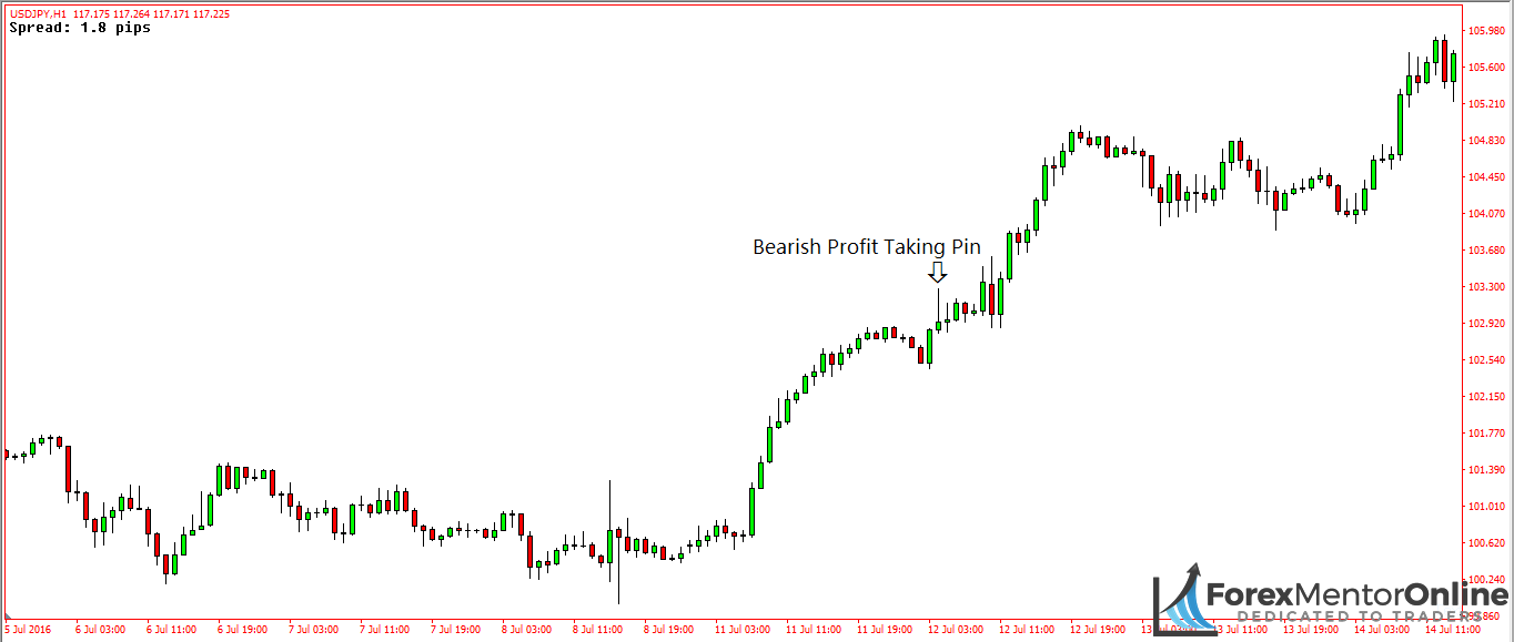 image of bearish profit taking pin bar